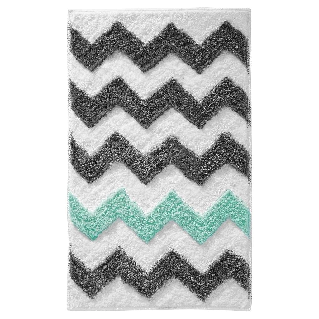 interdesign microfiber rectangular chevron rug gray aruba 34