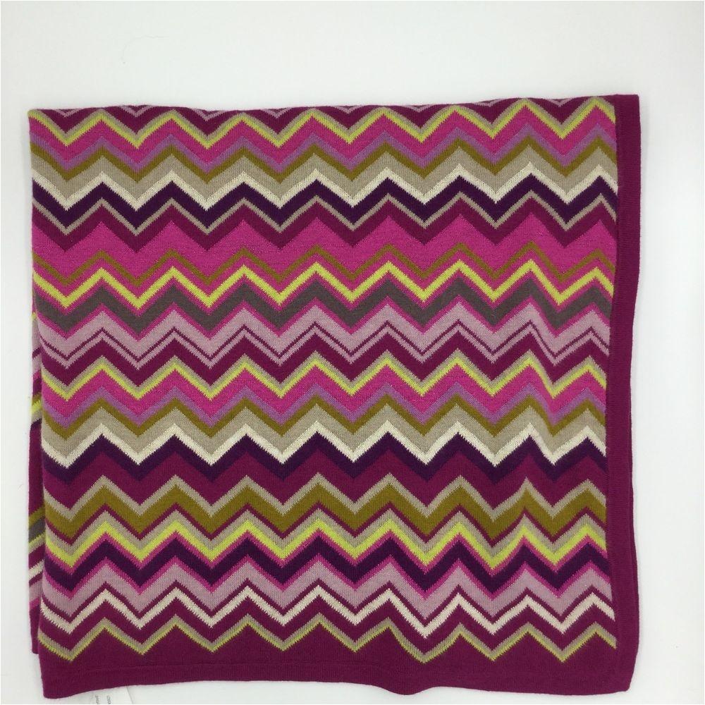 missoni for target chevron knit baby blanket purple pink green gray