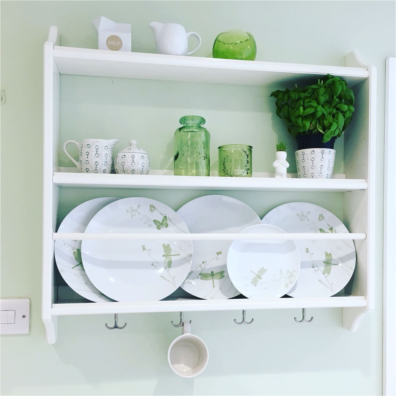 stenstorp ikea plate rack in a green and white kitchen shelfie shelf love