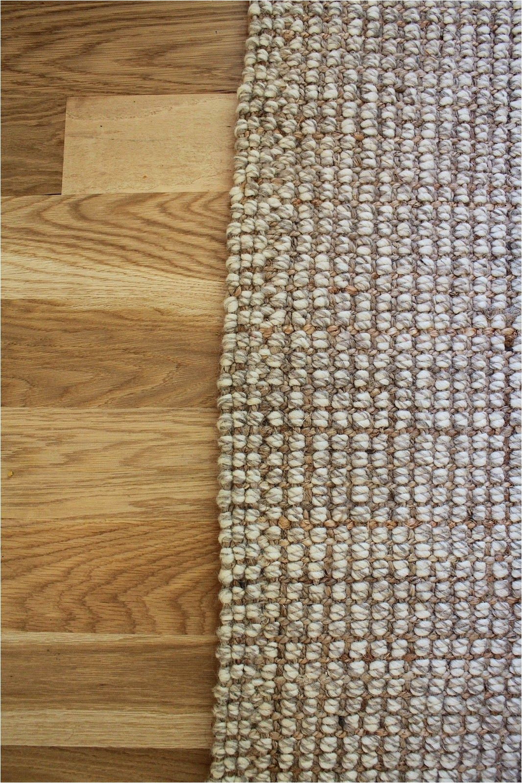 blonde tall pottery barn chunky wool jute rug