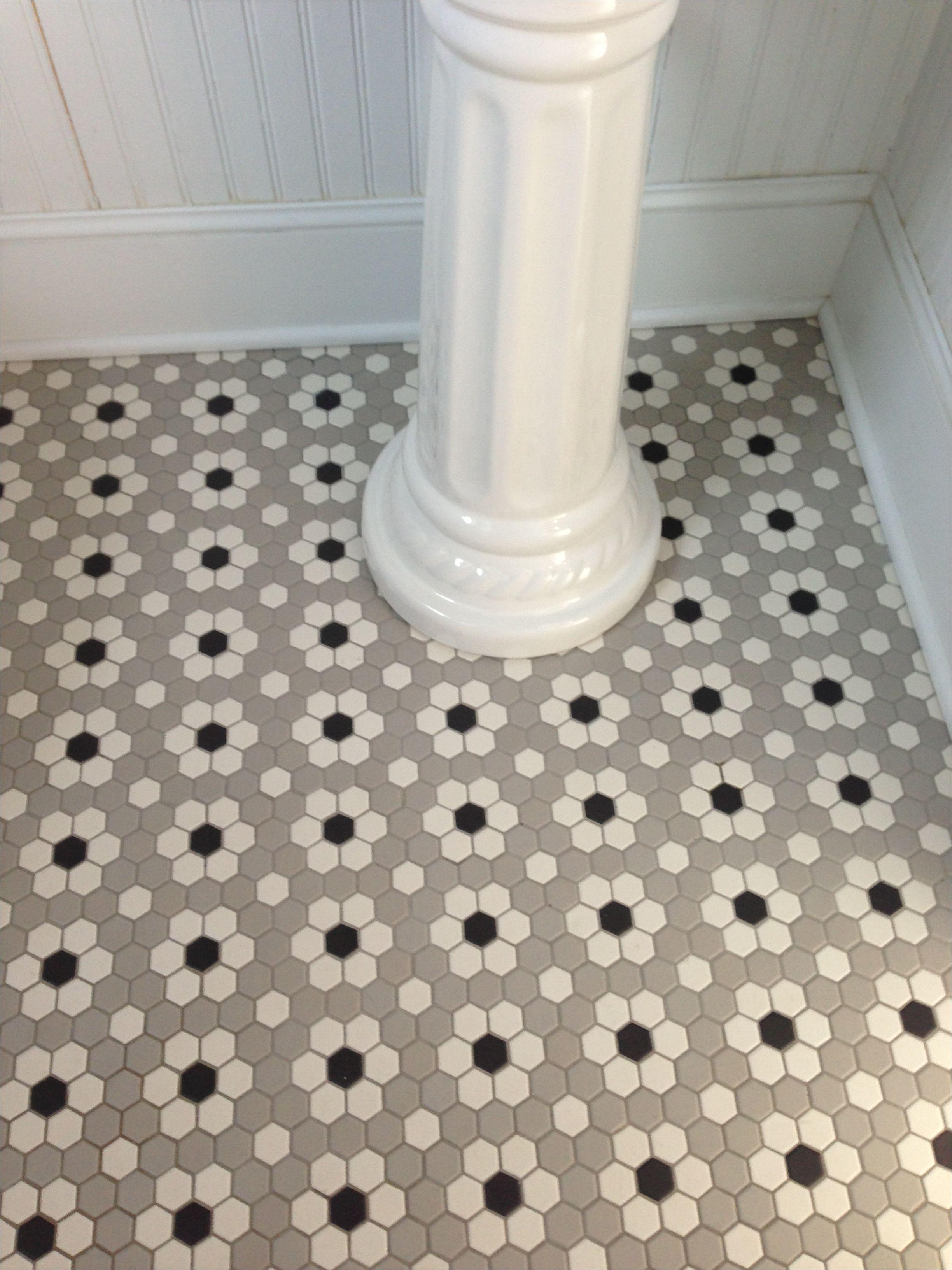 ceramic mosaic hex tile photo of ceramic mosaic hex tile we installed in our main floor half bath