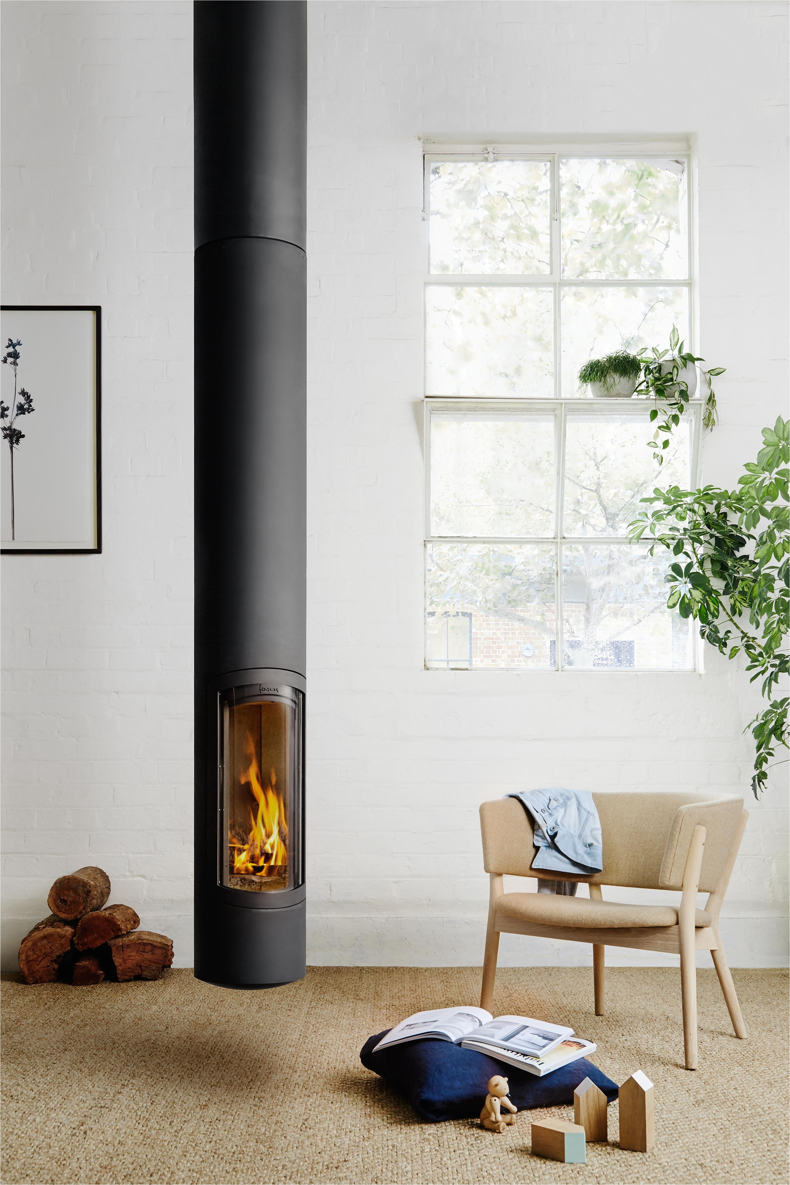 slimfocus suspended slow combustion fireplace