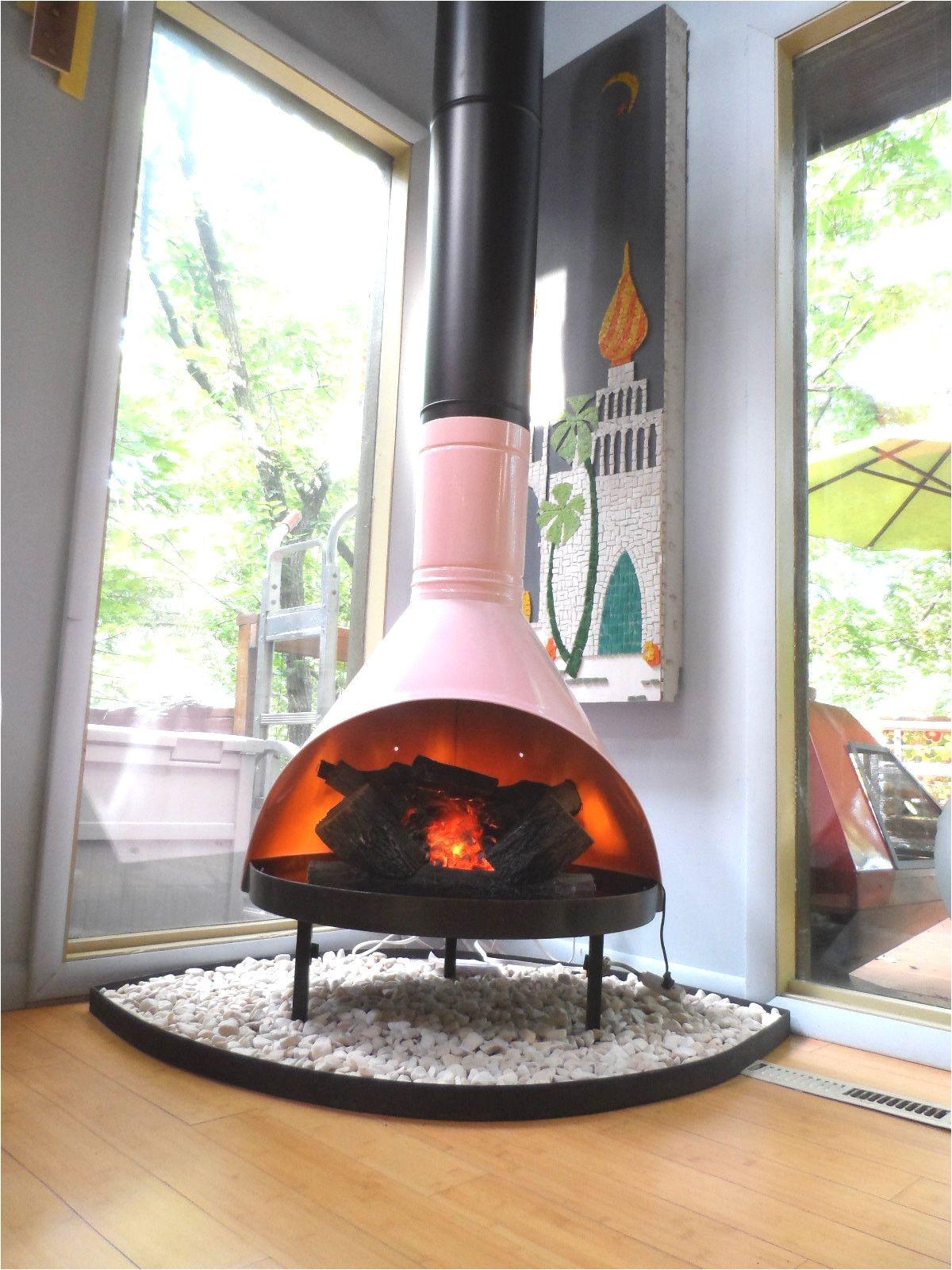 retro mid century mod pink black preway small freestanding cone fireplace malm ebay