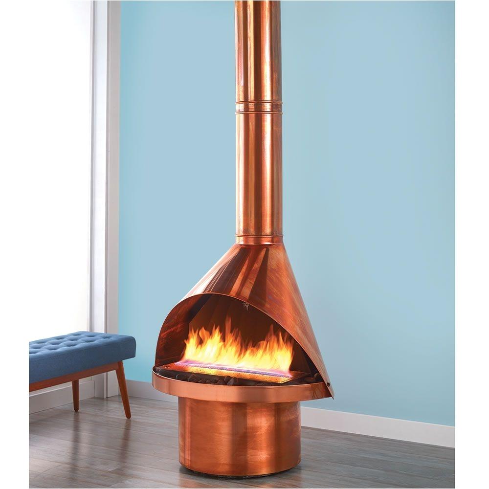 the malm ventless copper fireplace hammacher schlemmer