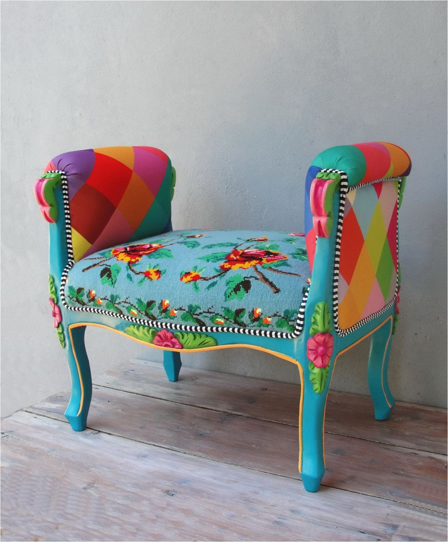 Purple Vanity Chair Rainbow Bench Bohemian Vanity Chair Embroidered Flower Power Vanity