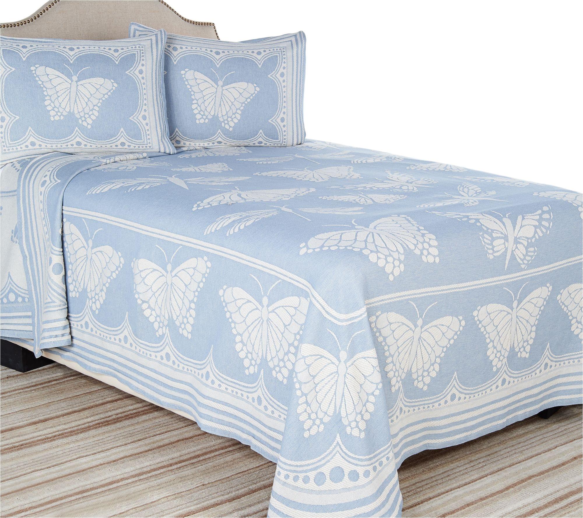 cotton jacquard butterfly bedspread qvc