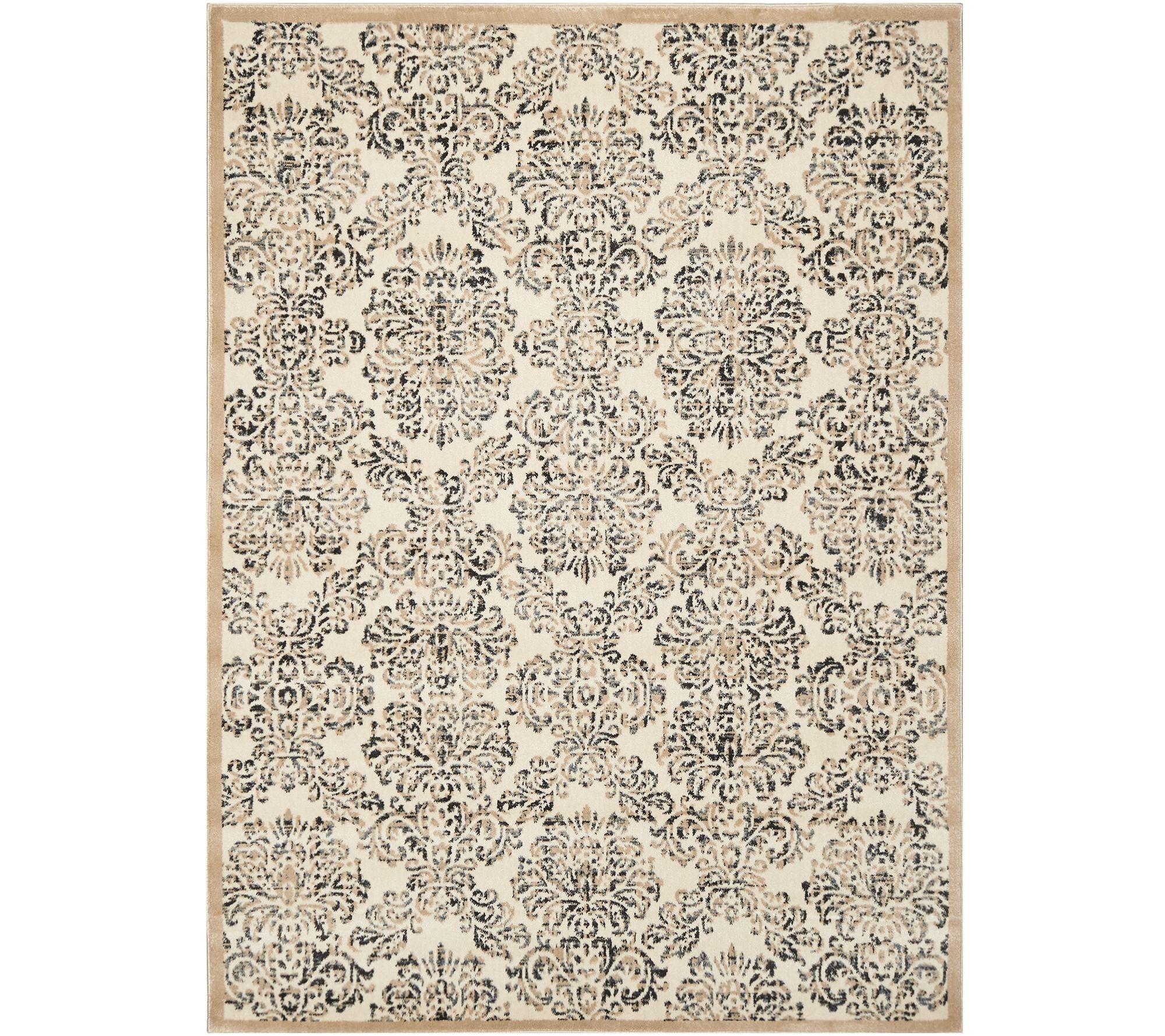 home decor 5 x7 vintage damask area rug page 1 qvc com