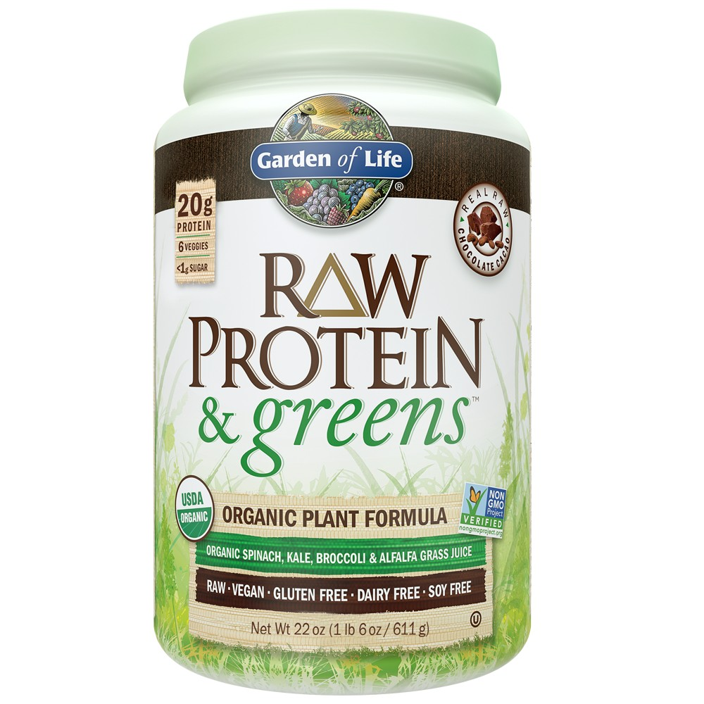 Raw Protein by Garden Of Life Raw Protein Greens Chocolate Cacao 22 Oz 611g