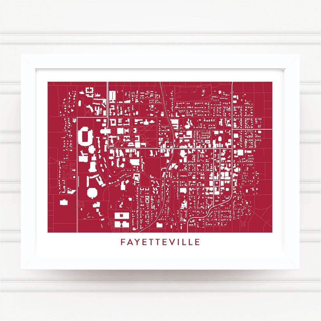 fayetteville arkansas map print home decor office decor art poster wall