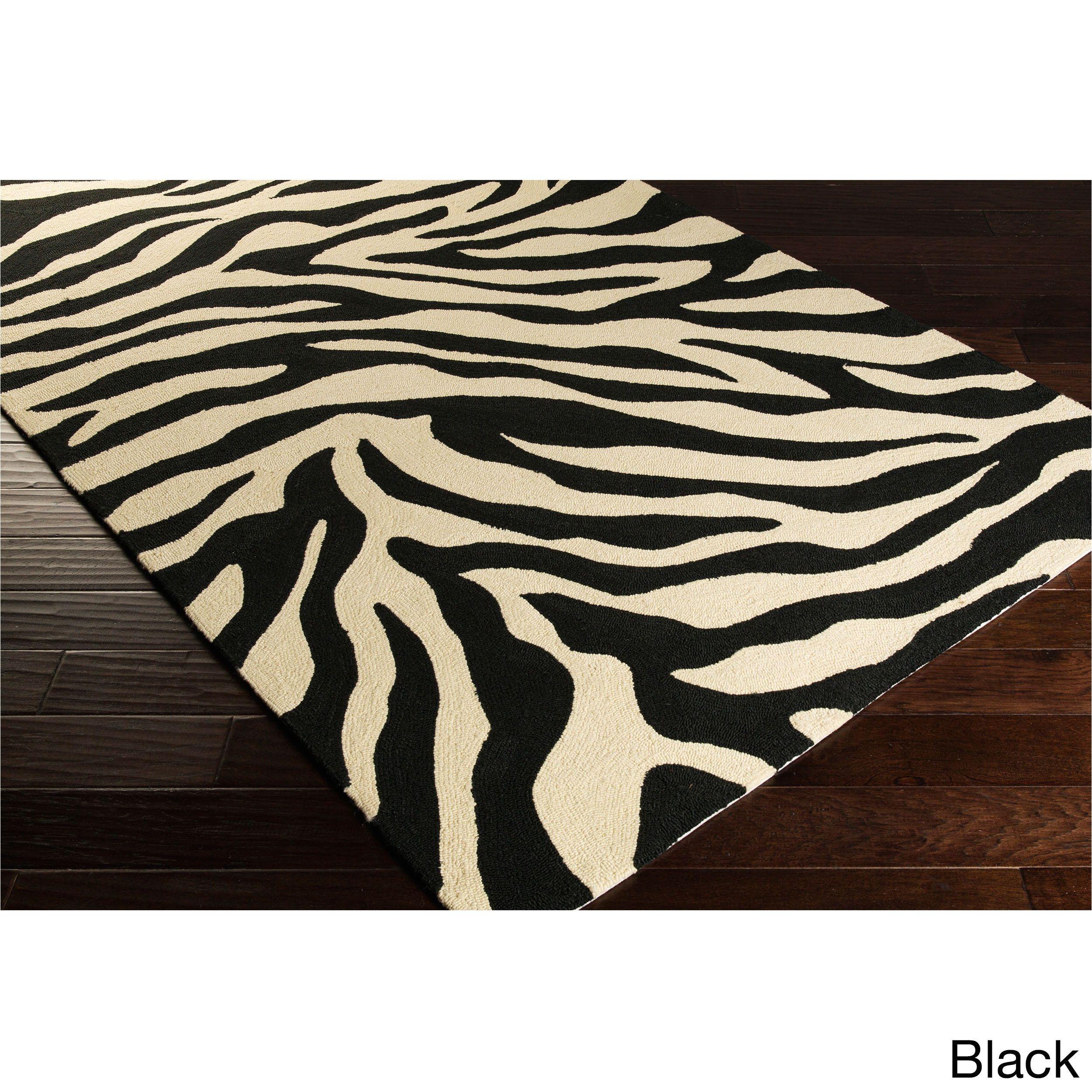 hand hooked adele zebra indoor outdoor polypropylene rug 2 6 x 8 green 2 6 x 8 green size 3 x 8