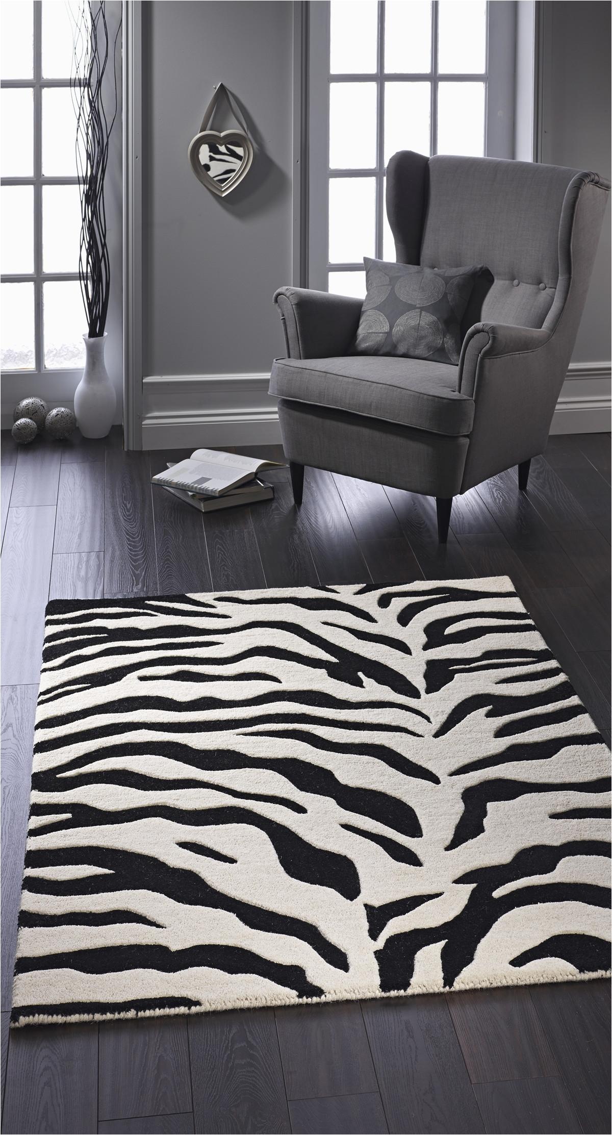 area rug with zebra stripe pattern