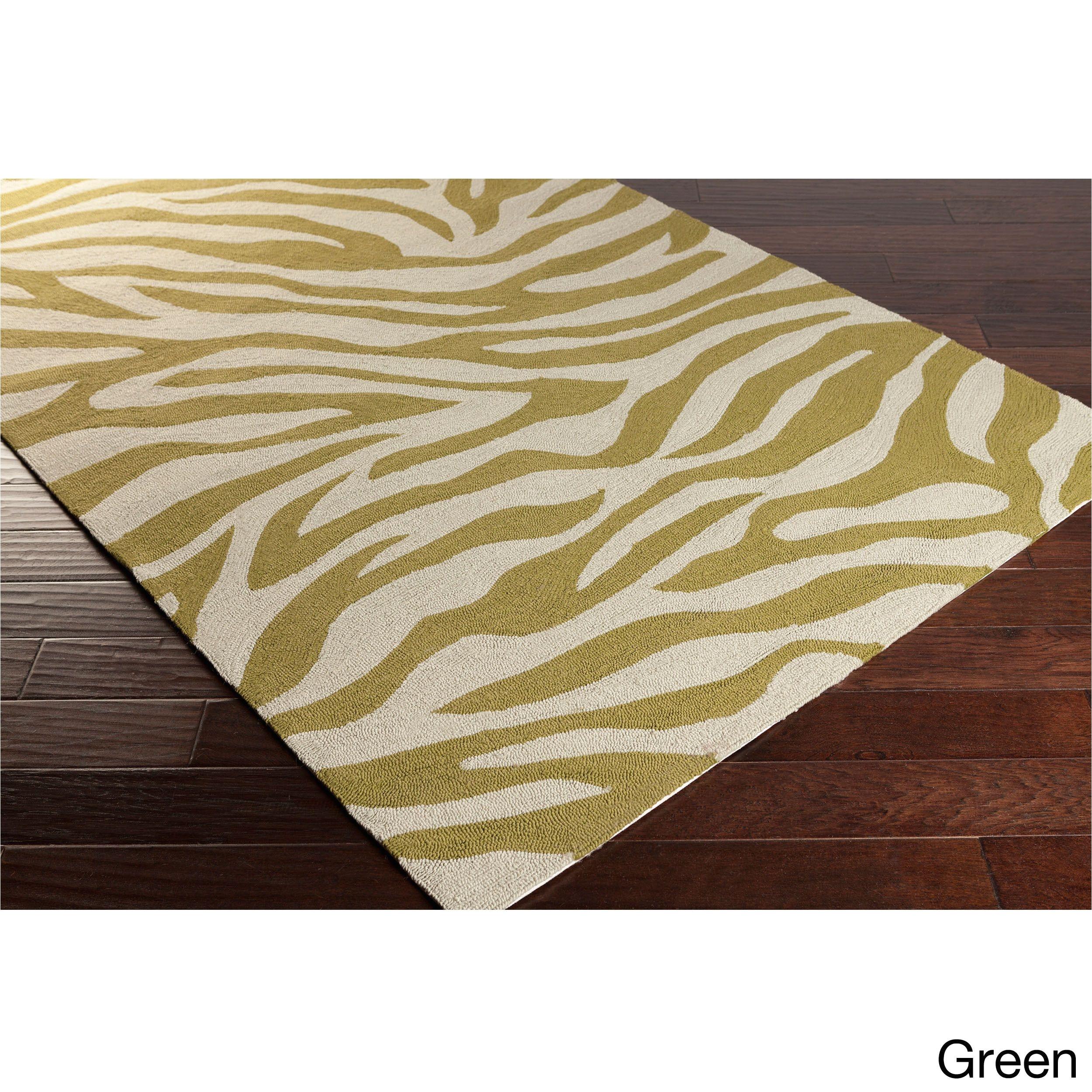 hand hooked adele zebra indoor outdoor polypropylene rug 9 x 12