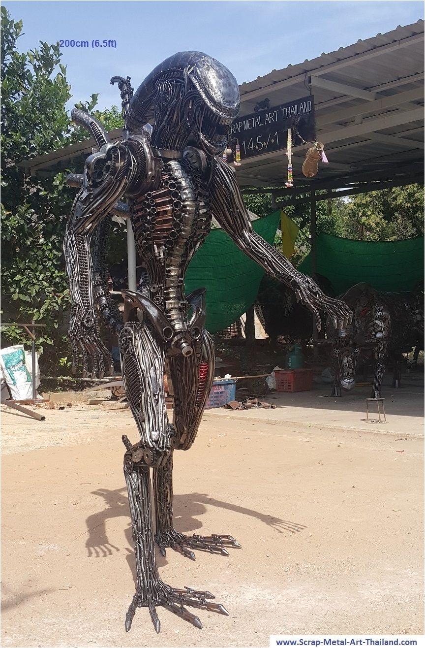 alien statue sculpture lifesize scrap metal art