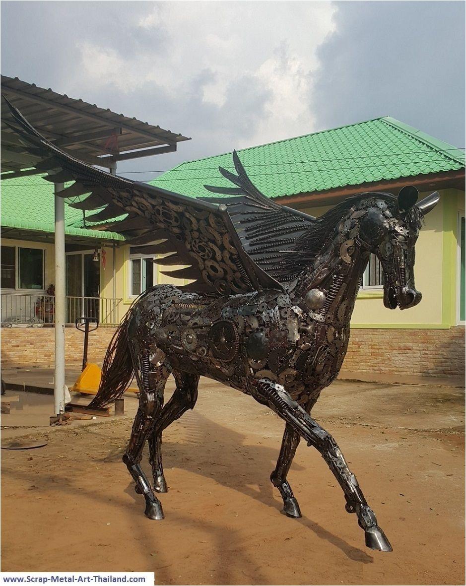 pegasus statue sculpture life size scrap metal art
