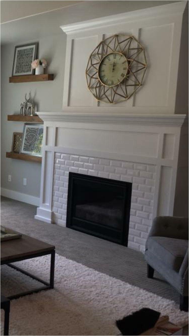 white subway tile fireplace with craftsman mantel a i lovea i