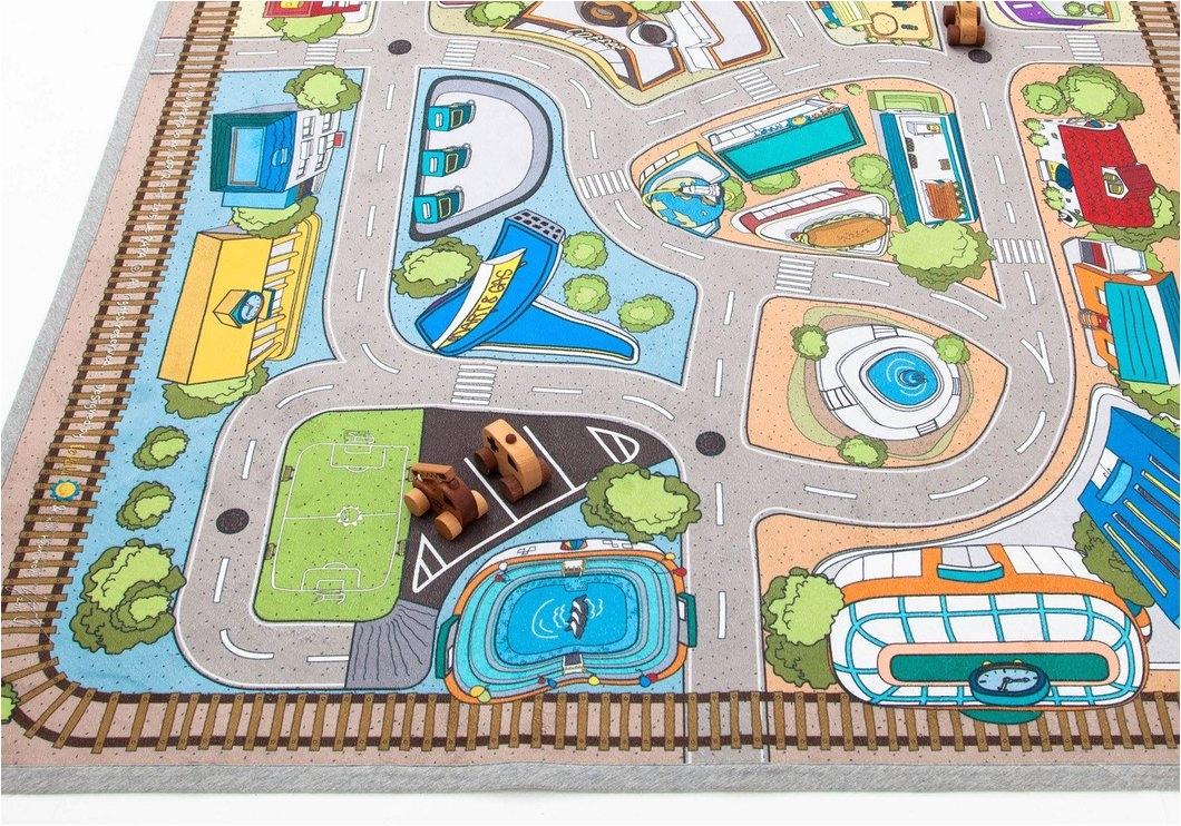 79 x 55 kids rug car village
