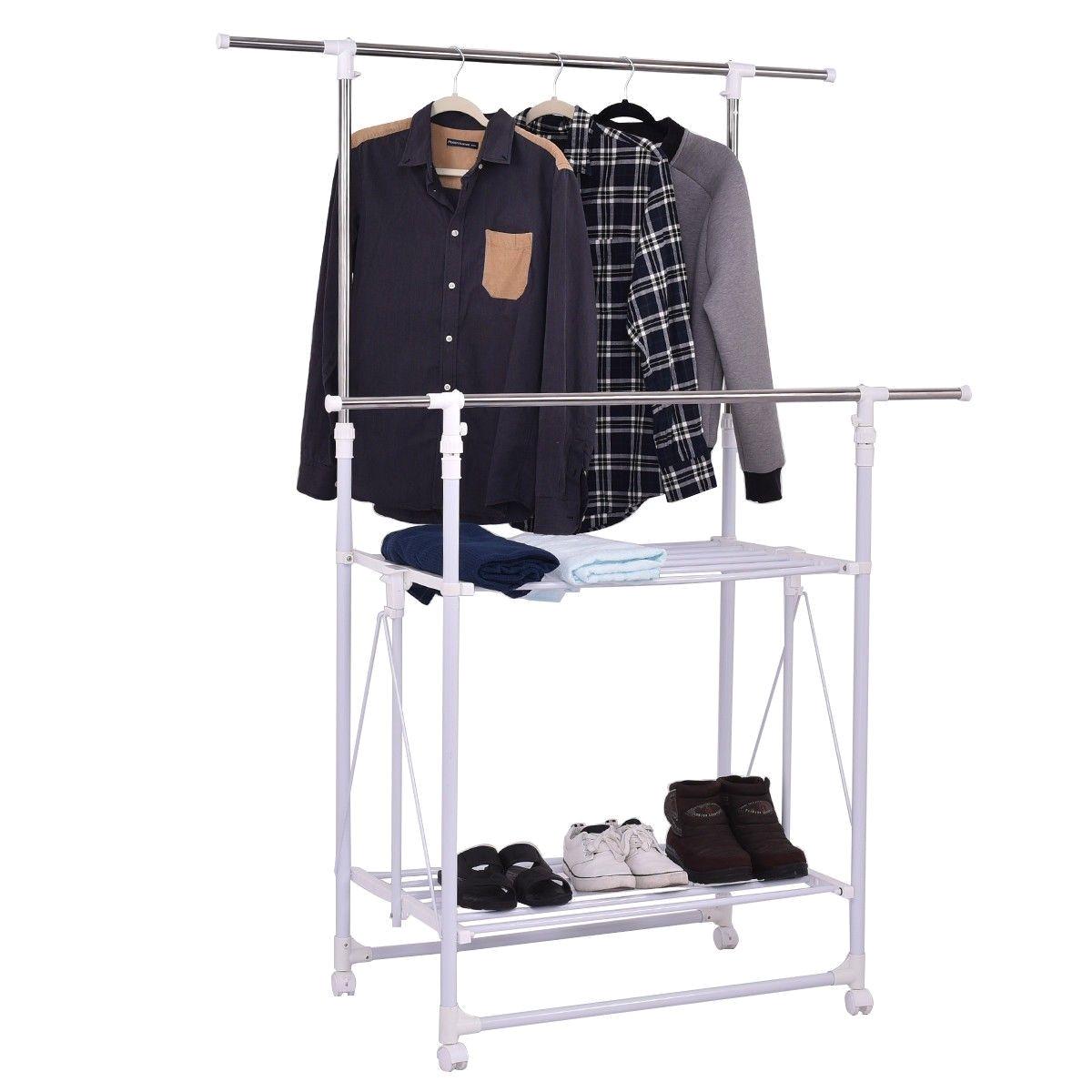 double rail folding adjustable rolling clothes rack hanger w 2 shelves