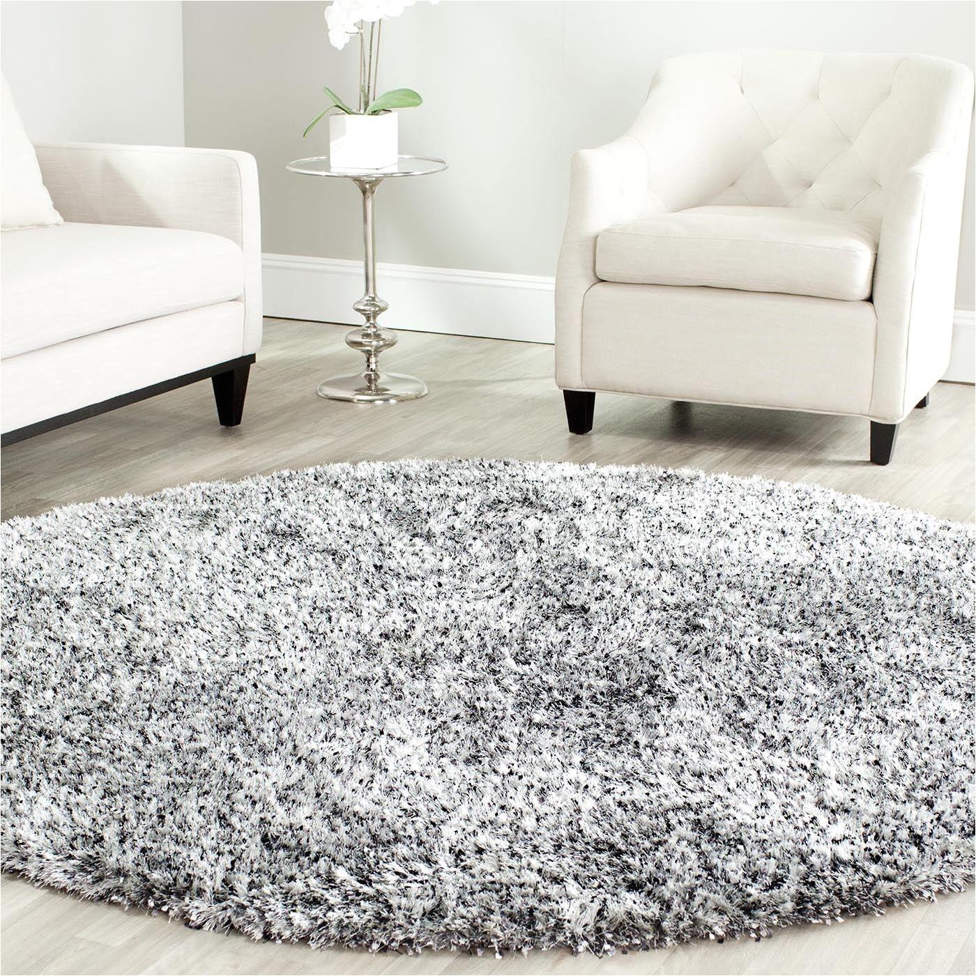 home interior reward round shaggy rugs safavieh handmade malibu shag silver polyester rug 7 ft