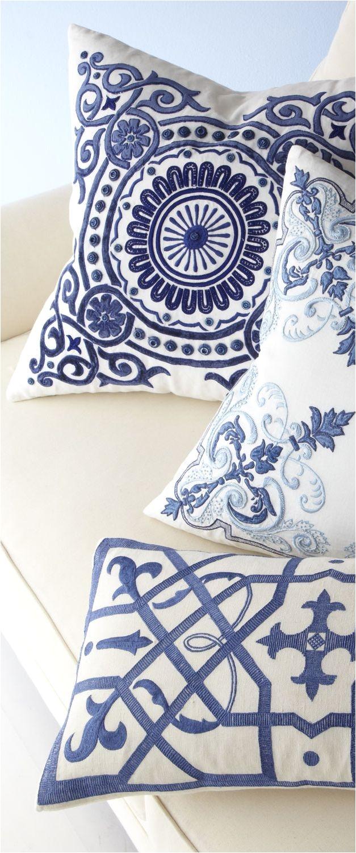 blue circular medallion pillows coastal decor