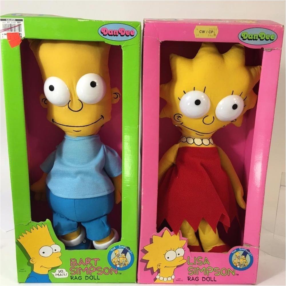 bart lisa simpson vtg rag doll lot 2 dan dee 1990 15 never removed from box simpsons