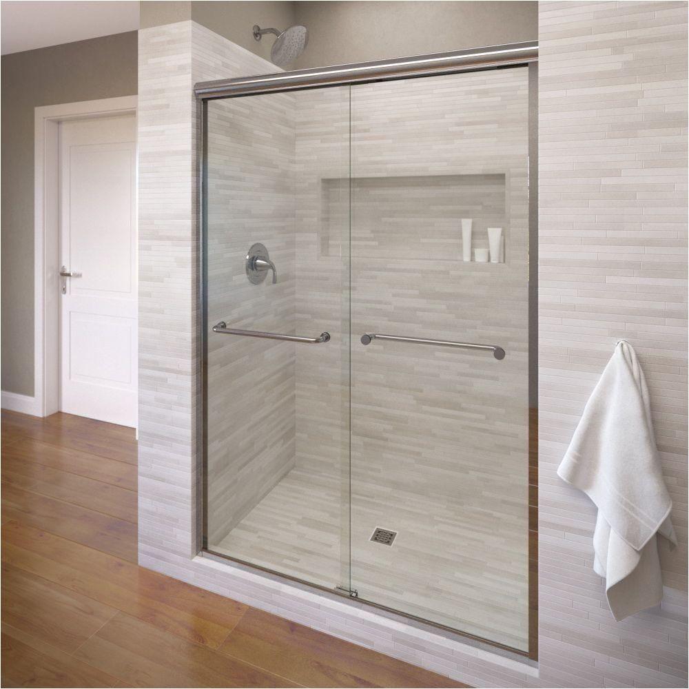 Shower Door Frame Only Basco Infinity 47 In X 70 In Semi Frameless Sliding Shower Door In