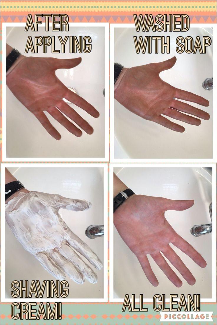 shaving cream removes self tanner any kind should work