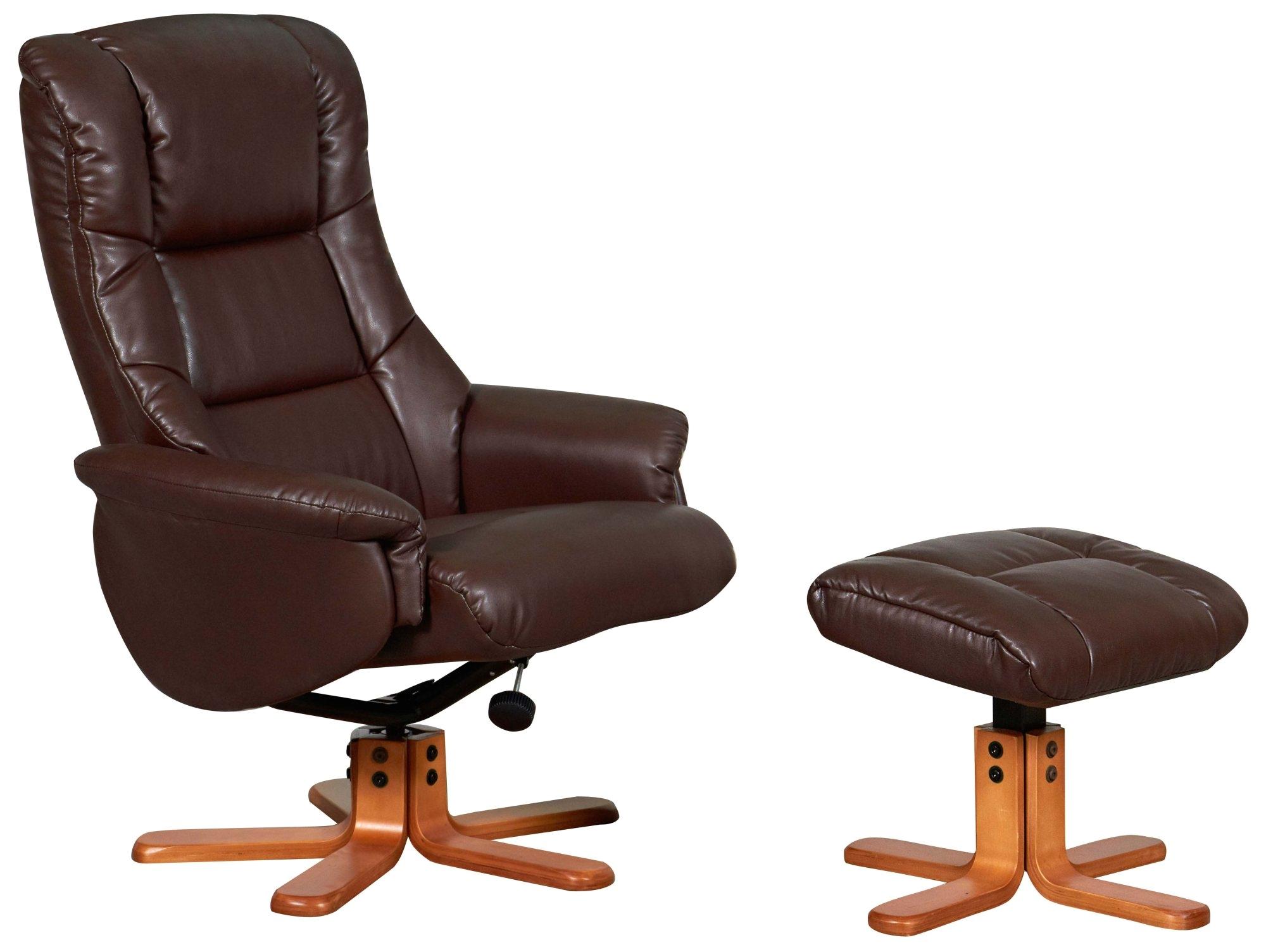 Slumberland Leather Chairs Bergen Recliner Chair Stool Set Nut Brown