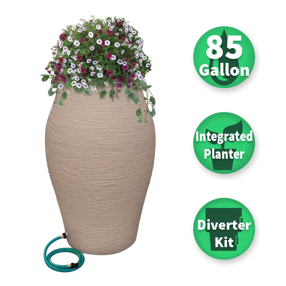 sandstone water urn decorative urn rain barrel kit with integrated planter