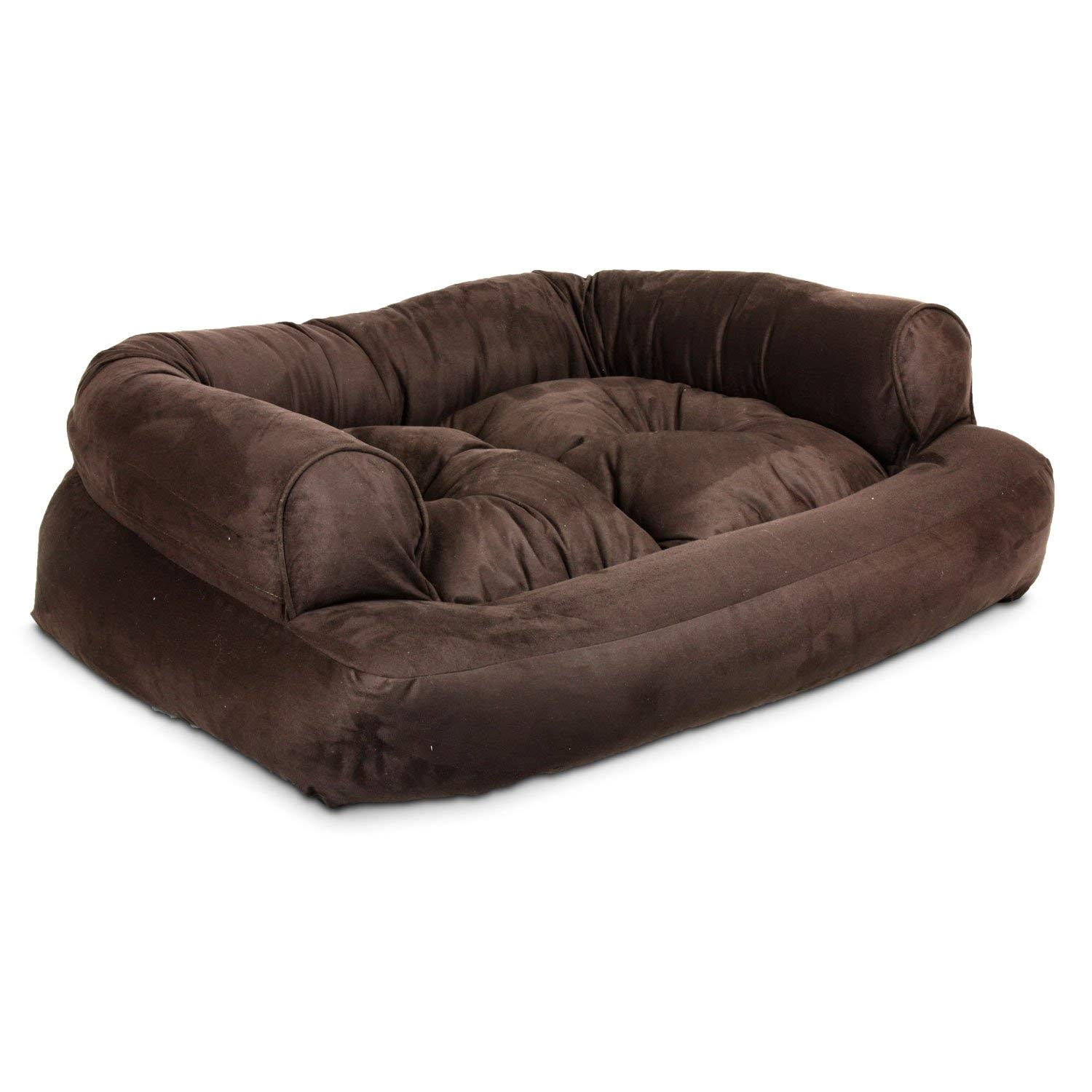 amazon com snoozer overstuffed luxury pet sofa x large hot fudge pet beds pet supplies