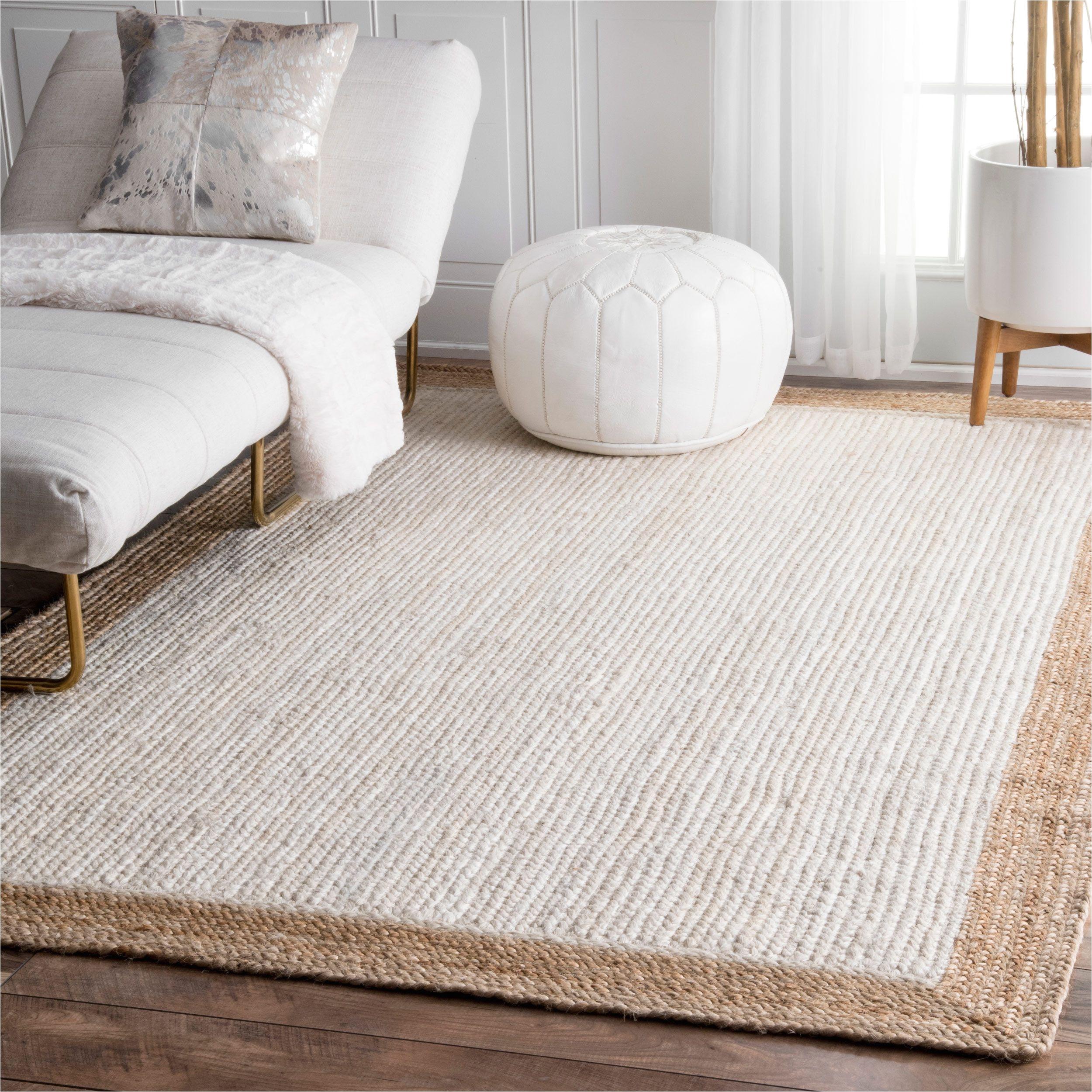 nuloom alexa eco natural fiber braided reversible border jute white rug 8 x 10 white beige size 8 x 10