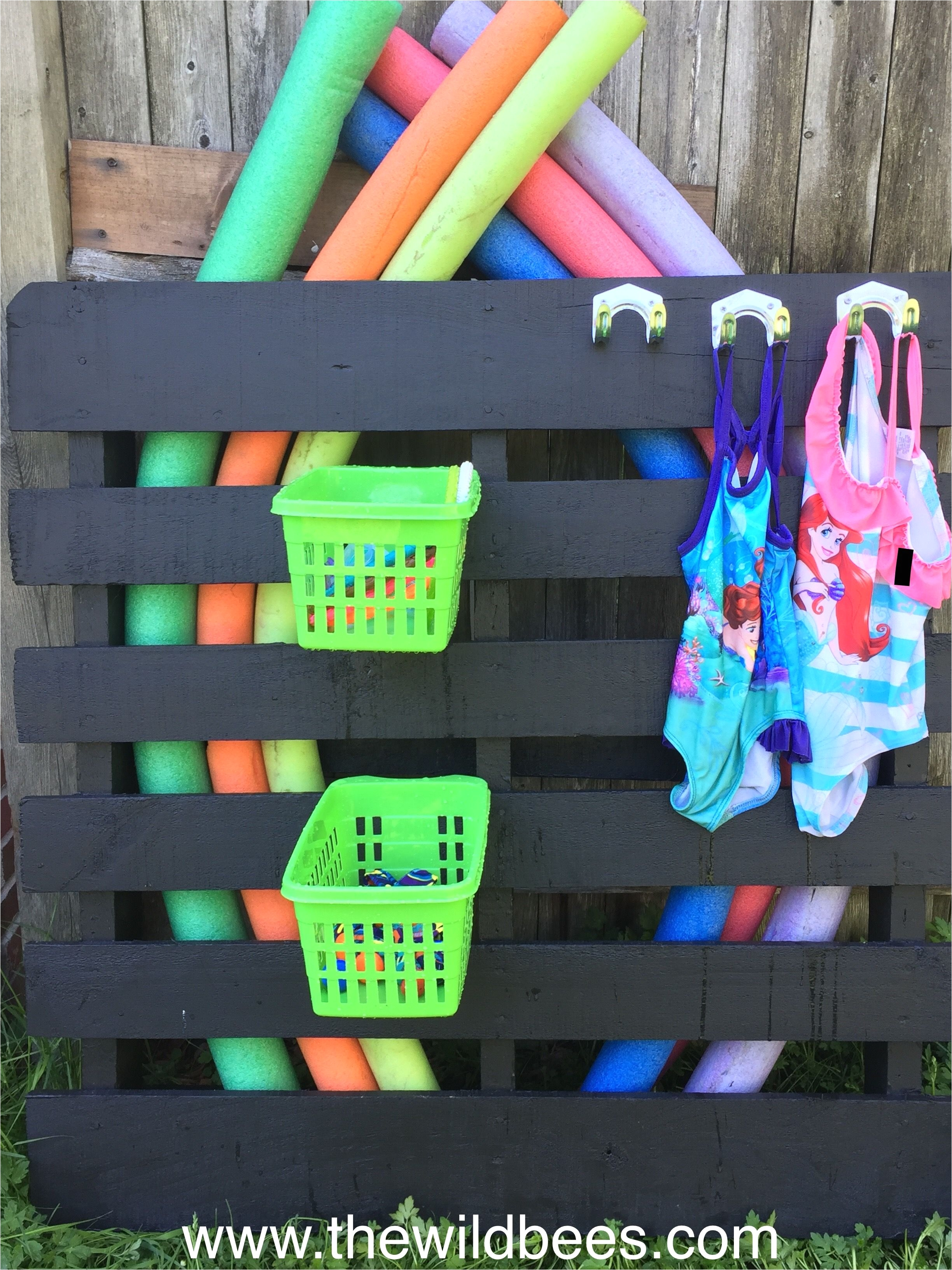 diy pool toys storage painted pallet dollar store baskets and hooks bee blake at