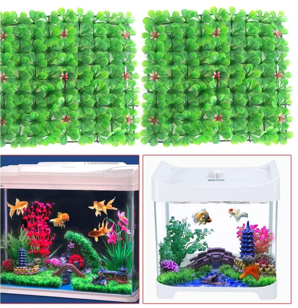 2pcs aquarium decorations artificial green grass plant lawn aquarium fish landscape garden fishtank aquarium ornament decor