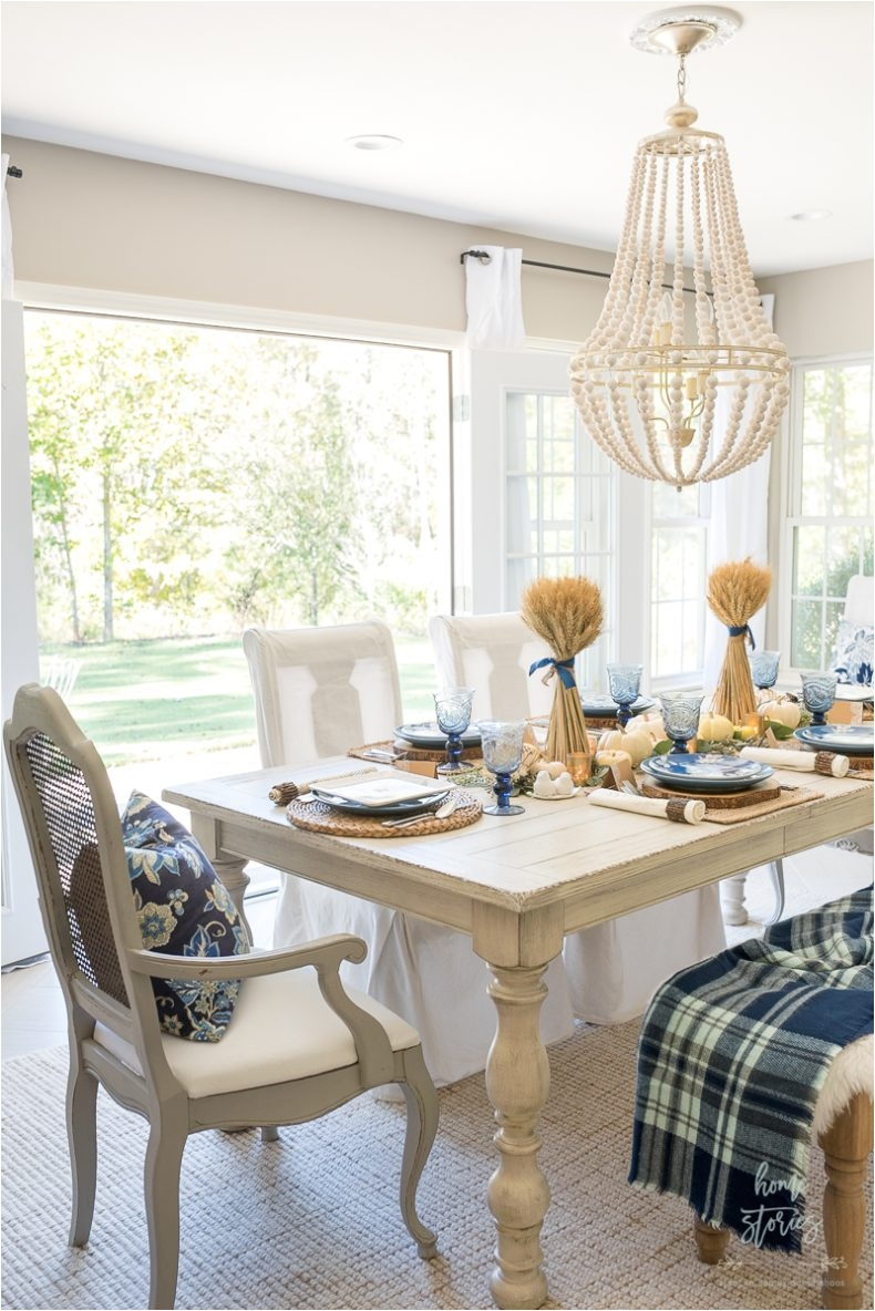 Stein Mart Dining Chairs Casual Blue and White Thanksgiving Table