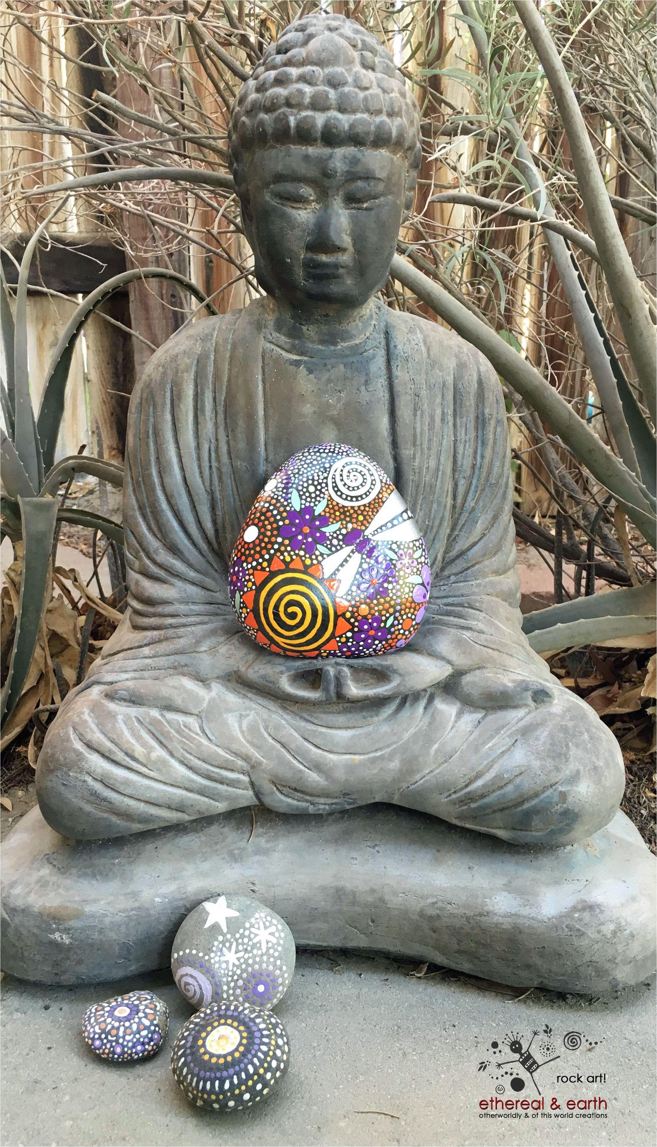 painted stone meditation space decor mandala design dragonfly art garden art