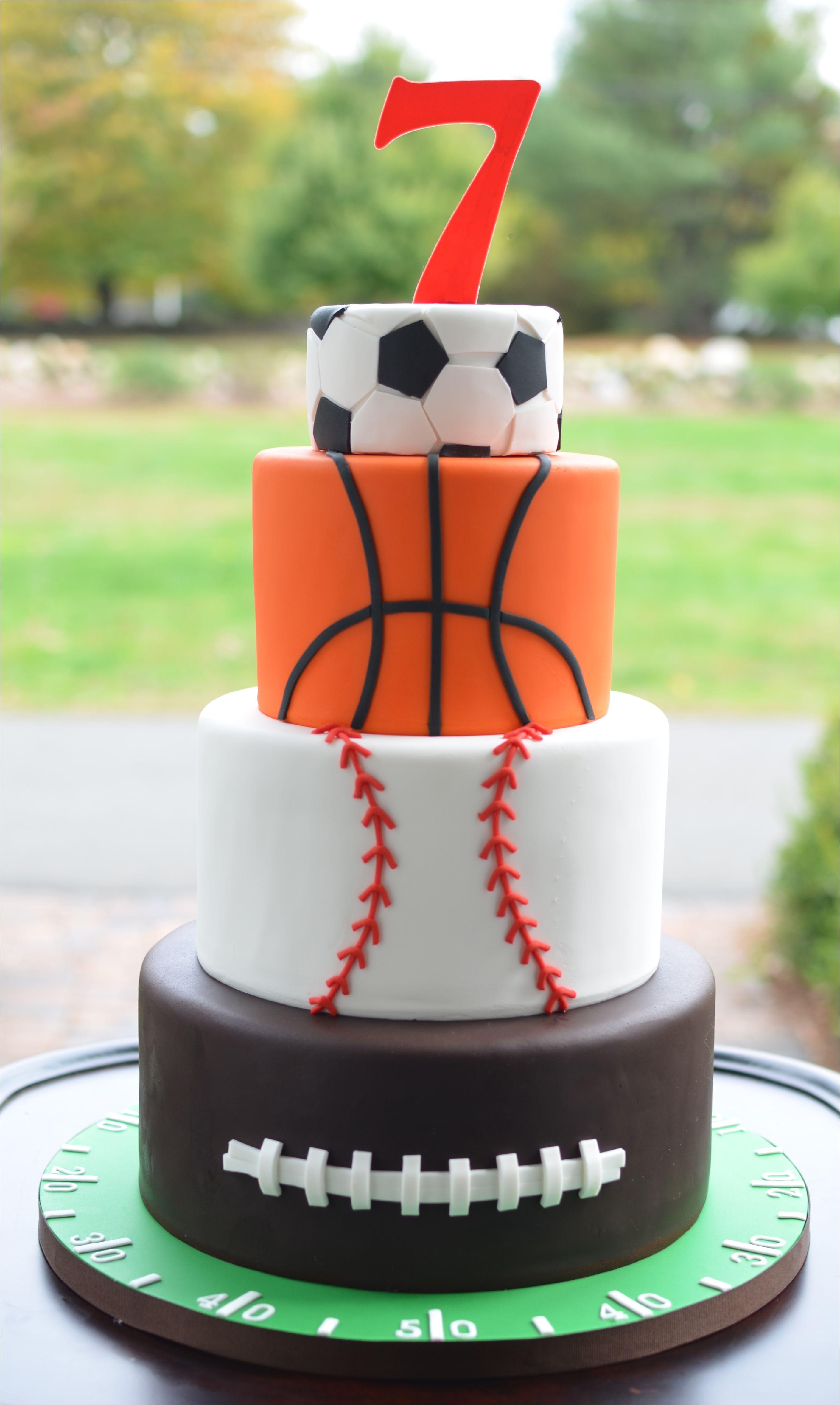 Sugar Baseball Cake Decorations All Star Sports themed Birthday Cake but A Dream Custom Cakes