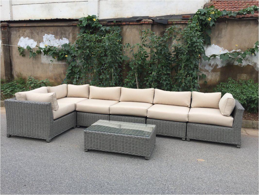 brayden studio dutil 7 piece sunbrella sectional set with cushions reviews wayfair