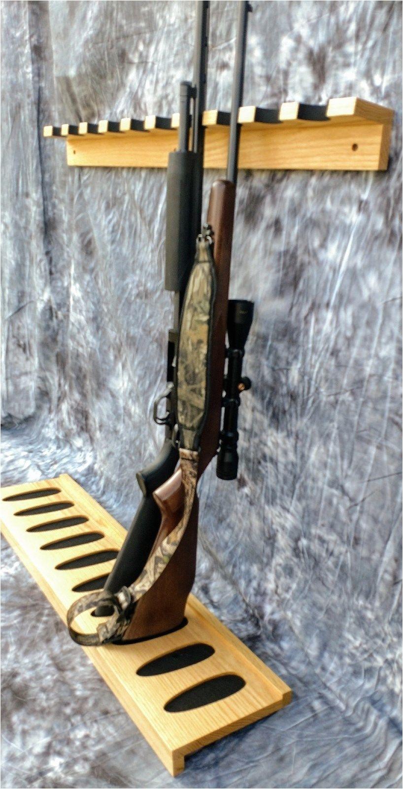 10 gun rack closet wall hunting camp storage garage basement closet oak wood