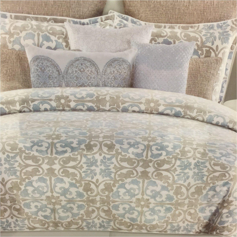 amazon com tahari home blue beige tan queen comforter set 6 pieces cotton