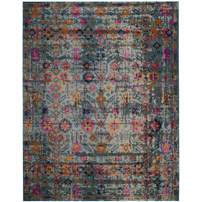 boho distressed teal 8x10 rug