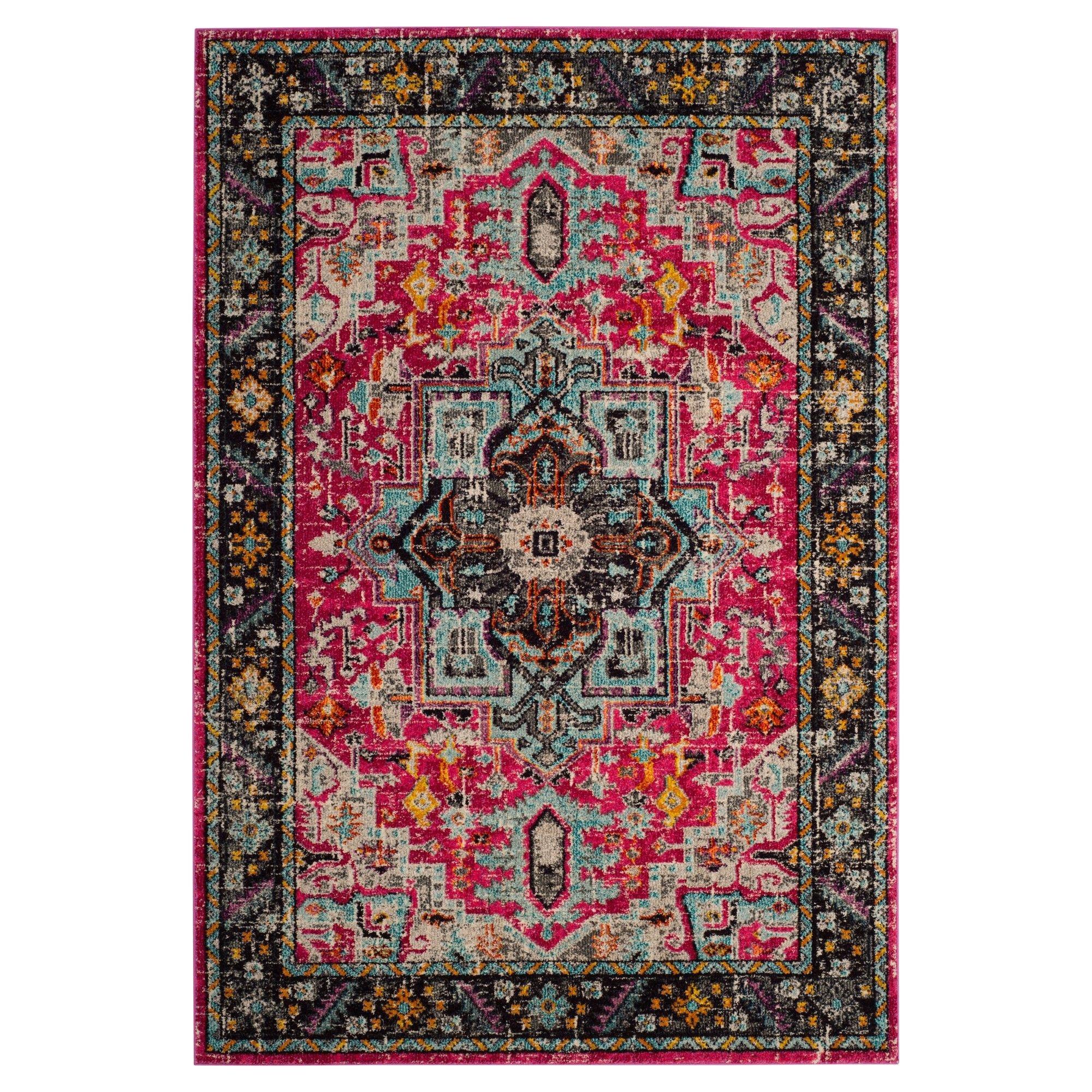 fuchsia gray medallion loomed area rug 6 7 x9 2 safavieh