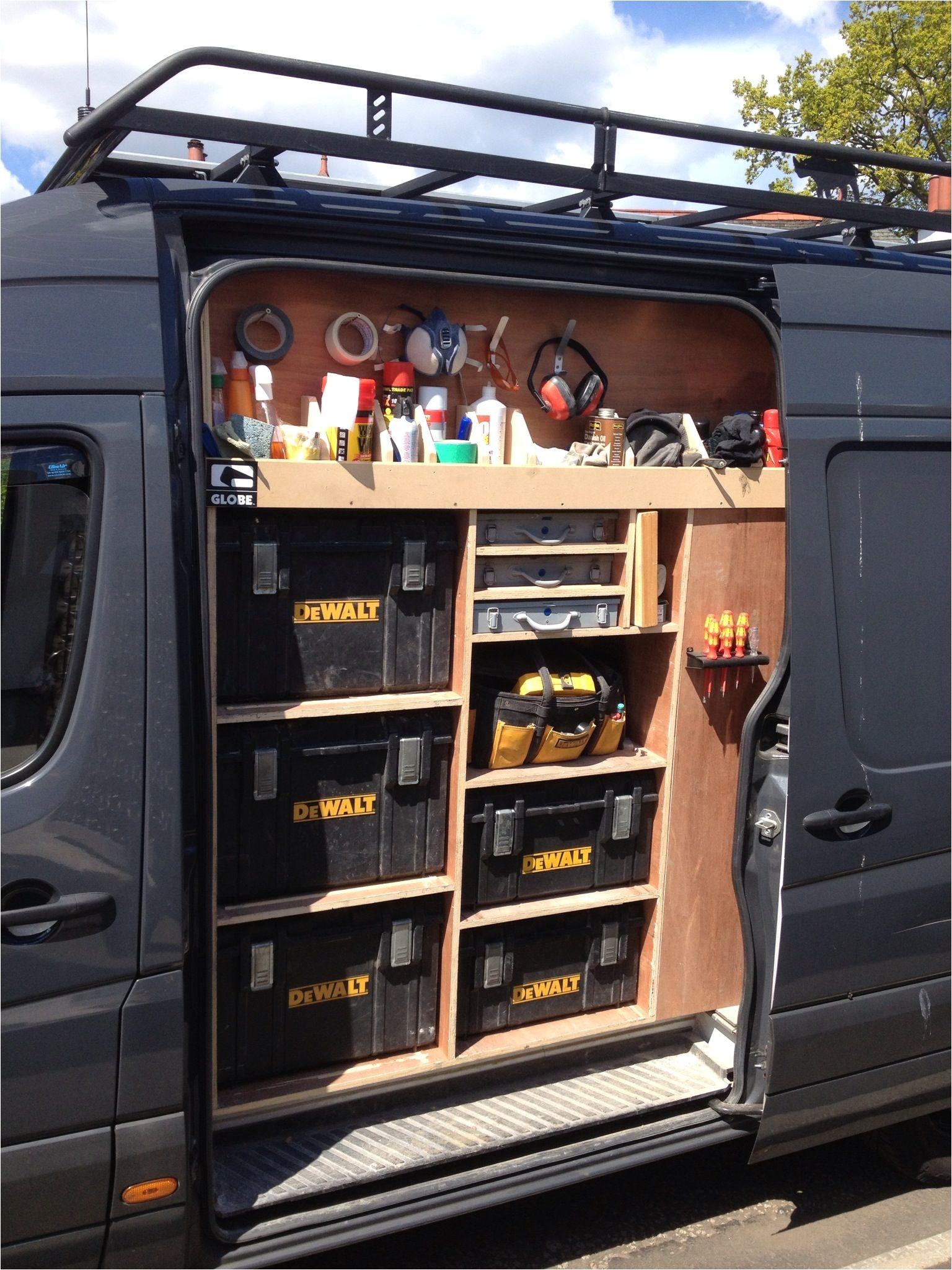 van racking tool storage work in progress