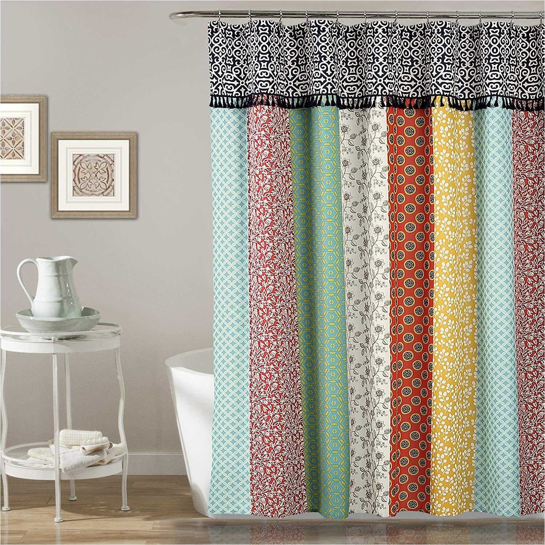 amazon com lush decor lush decor boho patch shower curtain 70 x 72 orange navy home kitchen