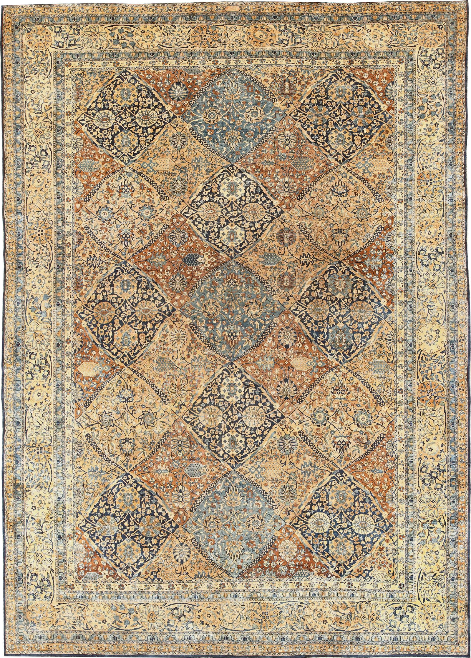 large garden design antique persian kerman rug 50683