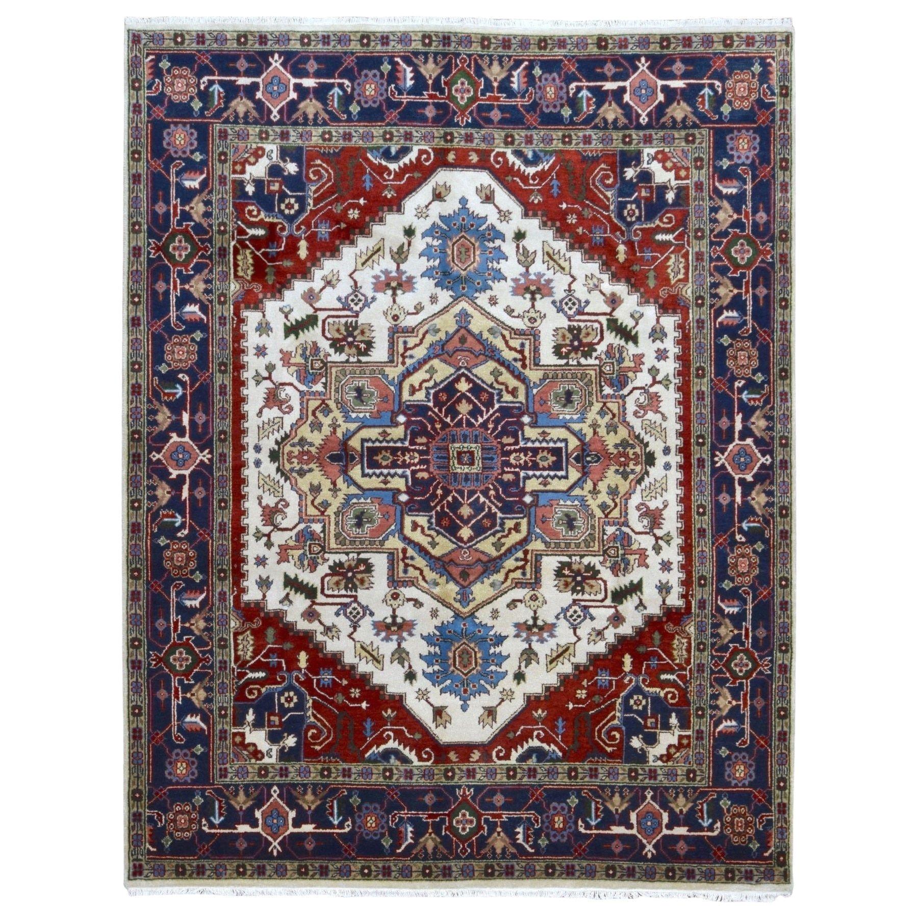 finerugcollection handmade serapi navy oriental rug