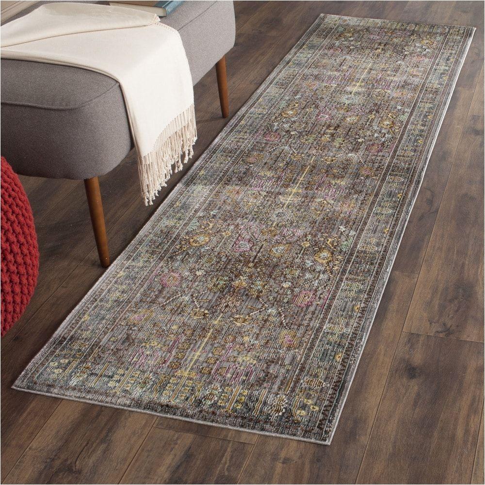 safavieh valencia grey multi distressed silky polyester rug 2 3 x 12 val108c 212 size 2 3 x 12