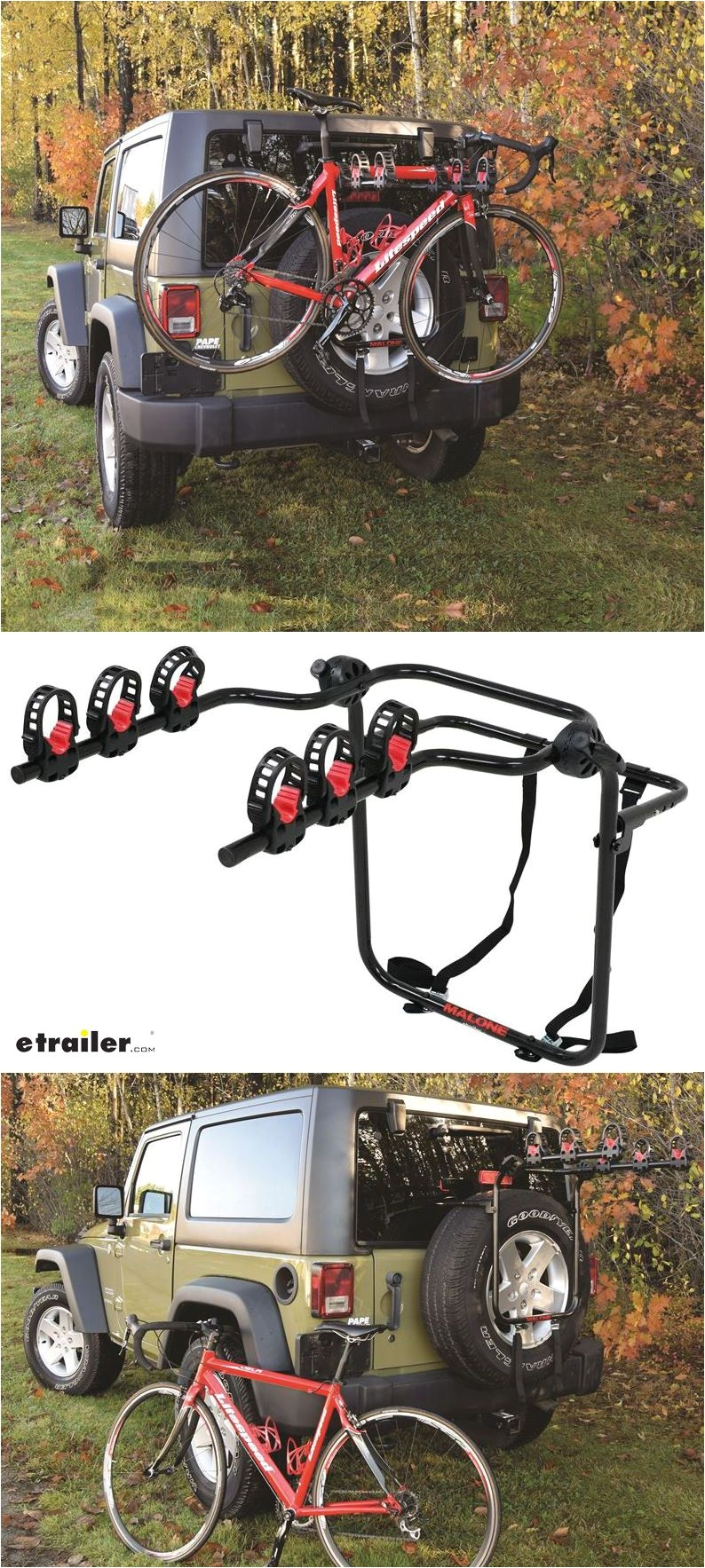 malone runway 3 bike rack spare tire mount folding arms