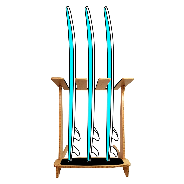 bamboo freestanding vertical surf rack by grassracks