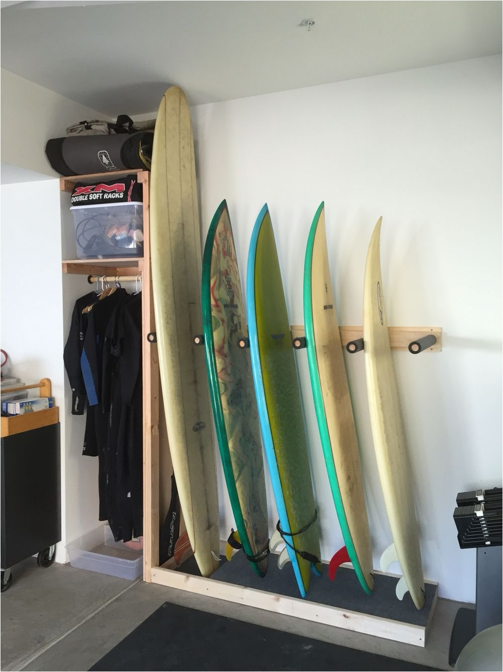 Wall Mounted Surfboard Rack Surf Rack Build with A Shelf Cubby for Wetsuits Accessories