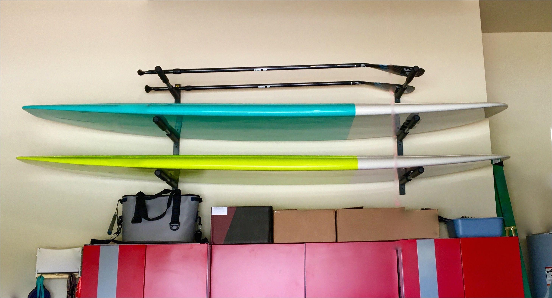 paddleboard garage storage rack for 3 sups supstorage indoorstorage storeyourboard