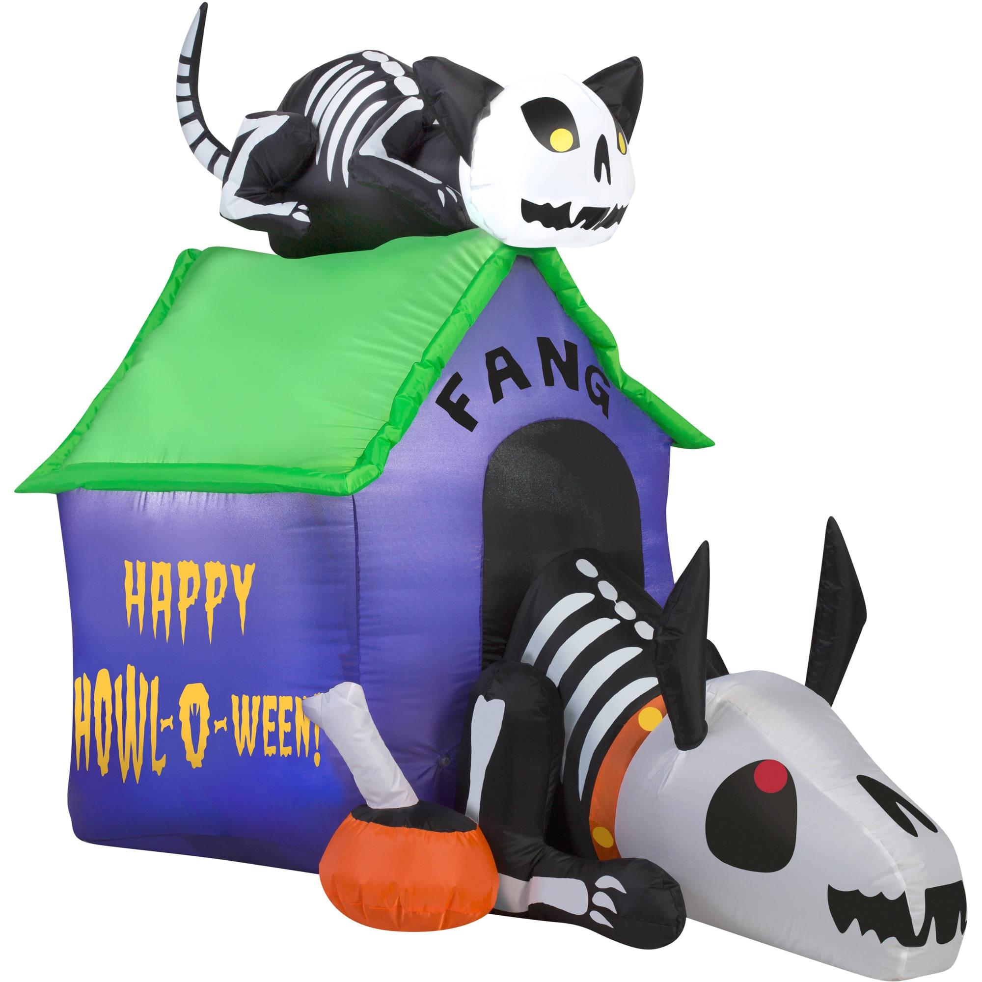 gemmy airblown inflatable 3 5 x 4 5 skeleton dog and cat halloween decoration walmart com
